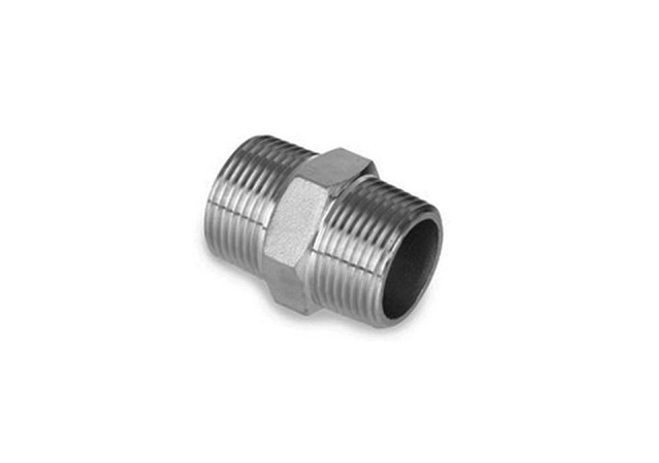 "Hexagon Double Nipple NPT 1/2"" to NPT 1/2"""